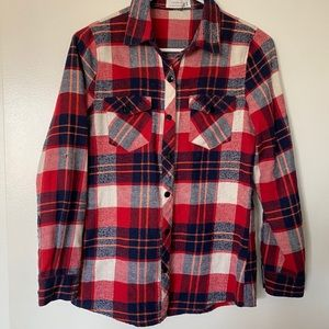 Love Tree Flannel Shirt Top Red Long Sleeves S